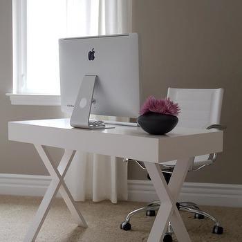 White Lacquer Desk, Contemporary, den/library/office, A.S.D. Interiors