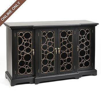 Black Wood Circle Cabinet at Kirkland's