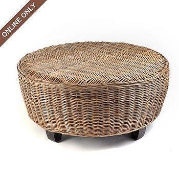 Tables - Wicker Hotel Caribe Ottoman at Kirkland's - ottoman, tropical, rattan, seating