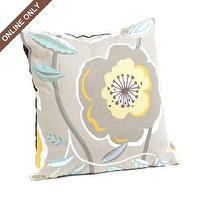 Pillows - Diamond Silver Poppies Galore Pillow at Kirkland&#039;s - pillow, gray, floral, modern, yellow