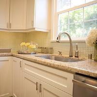 A.S.D. Interiors - kitchens - shaker cabinets, white shaker cabinets, granite counters, granite countertops, light brown granite, light brown granite countertops, grid backsplash, gride tile backsplash, glass grid tile, green glass tile, green glass tile backsplash, green glass backsplash tile, green glass kitchen tile, green glass kitchen backsplash,