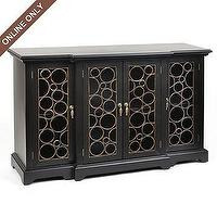 Storage Furniture - Black Wood Circle Cabinet at Kirkland's - storage, console, media cabinet, black, gold, contemporary