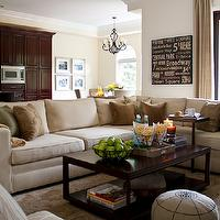 Interiors living rooms sectional cream brown beige silk
