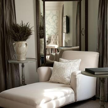 John Jacob Interiors - living rooms - taupe curtains, taupe drapes, taupe window panels, large ornate mirror, gray accent table, chaise lounge, ivory chaise lounge, damask pillows, ivory damask pillows,