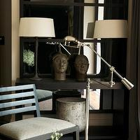 John Jacob Interiors - entrances/foyers - black lacquer mirror, oversized mirror, black mirror, black oversized mirror, console table, black console table, iron lamps, iron table lamps, black chair, pharmacy floor lamp,