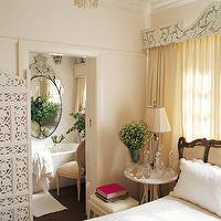 John Jacob Interiors - bedrooms - ornate cornice box, cornice, cornice box, pale yellow curtains, pale yellow drapes, french bed, french headboard, carved wood floor screen, white floor screen, ensuite, ensuite bathroom,