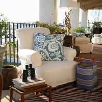 John Jacob Interiors - decks/patios - covered patio, covered deck, rustic covered patio, rustic covered deck, patio, deck, slipcovered chair, white slipcovered chair, blue floral pillow, outdoor rug,