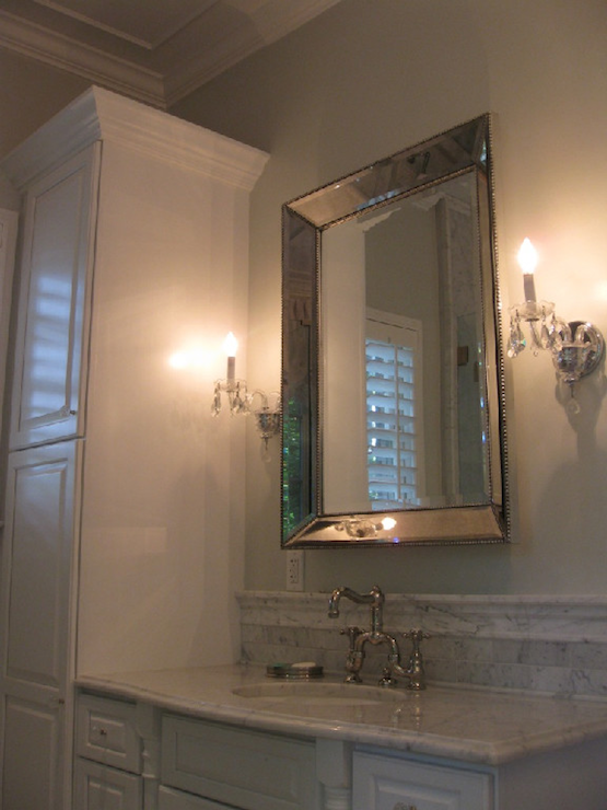 Restoration Hardware Venetian Beaded Mirror Transitional Bathroom West