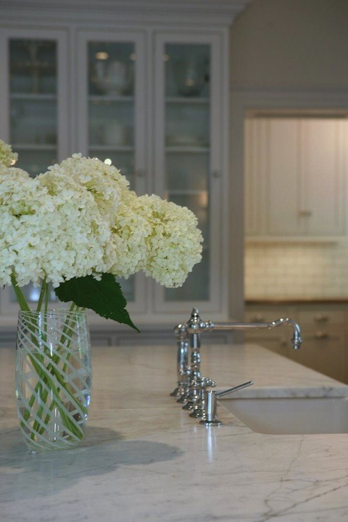 Suzie: West End Cabinet Company - Polished nickel faucet, sink in kitchen island, built-in ...