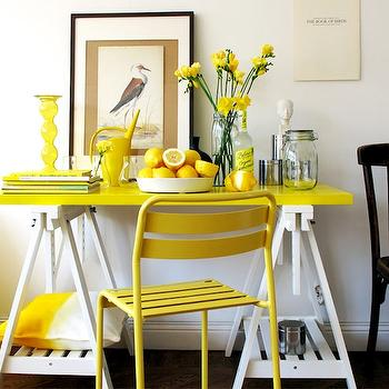 dining rooms - white and yellow bar, white and yellow bar table, ikea table, ikea trestle table, ikea vika artur trestle table, sawhorse table, white sawhorse table, white and yellow table, white and yellow sawhorse table, trestle table, white trestle table, white and yellow trestle table, yellow table top, styled bar, bar vignette, yellow chair, roxo chair, canary yellow chair, white and yellow dining room, Ikea Vika Amon Table Top, Ikea Vika Artur Trestle with Shelf, Ikea Roxo Chair,