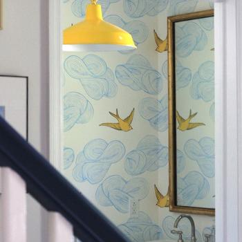 Emily Henderson - bathrooms - powder room, vintage powder room, powder room wallpaper, yellow pendant, vintage yellow pendant, barn pendant, vintage barn pendant, yellow barn pendant, blue and yellow wallpaper, cloud and bird wallpaper, gold leaf mirror, gilded mirror, pedestal sink, Hygge & West Daydream (Sunshine) Wallpaper,