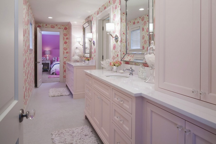 Pink cabinets traditional bathroom benjamin moore for Bathroom models images