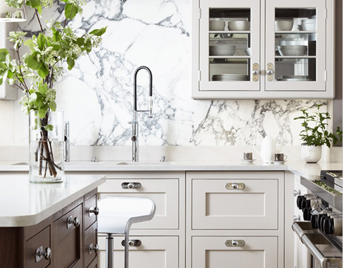 Martin Moore & Company - kitchens - cream cabinets, cream kitchen cabinets, marble slab, marble backsplash, marble slab backsplash, instant hot water faucet, white countertops, two tone kitchen, stained kitchen island, piston stools, white piston stools, glass front cabinets,
