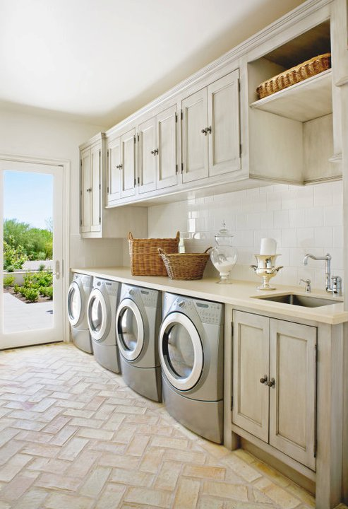 Gray Washed Cabinets Mediterranean Laundry Room Palm