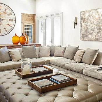 Gray Velvet Sectional Sofa, Mediterranean, living room, Palm Design Group