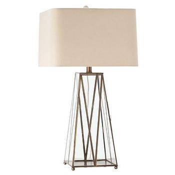 Lighting - Arteriors Edmond Glass/Antique Brass Lamp - Zinc Door - brass, glass, beige, linen, cream, mid-century, modern,