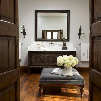 Palm Design Group - bathrooms - gray, walls, Spanish, style, cabinet, bathroom vanity, marble, top, blue, tufted, ottoman, nailhead trim, wood, floors,