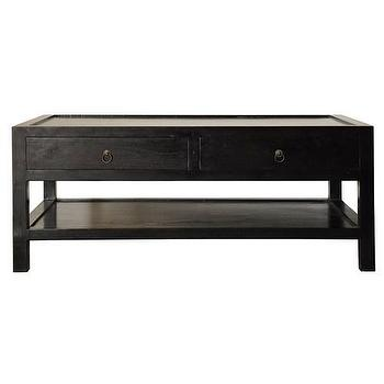 Tables - Noir Ming Coffee Table - Zinc Door - rubbed, black, ming, asian, contemporary, coffee, shelf, table, drawers, wooden
