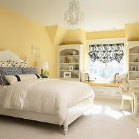Martha O&#039;Hara Interiors - bedrooms - Benjamin Moore - Traditional Yellow - chandelier, window seat, bedroom window seat, window seat in bedroom, yellow bedroom, yellow walls, yellow bedroom walls, white chandelier, crystal drops chandelier, moorish headboard, white moorish headboard, moroccan headboard, white moroccan headboard, paisley pillows, blue paisley pillows, distressed nightstands, white nightstands, white distressed nightstands, milk glass lamp, blue lamp shade, pleated lamp shade, blue pleated shade, blue pleated lamp shade, window seat, buil tin window seat, bench, built in bench, white and blue roman shade, built in bookcase, built in bookshelf, cream desk, girl desk, girls desk, quatrefoil, quatrefoil chair, cream quatrefoil chair, gold trim, bulletin board, yellow and blue bedroom, yellow and blue girl room, yellow and blue girls room, yellow and blue girl bedroom, yellow and blue girls bedroom,