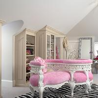 Martha O&#039;Hara Interiors - closets: tete a tete, tete a tete sofa, pink sofa, velvet sofa, pink velvet sofa, pink tete a tete sofa, velvet tete a tete sofa, pink velvet tete a tete sofa, rococo mirror, silver mirror, silver floor mirror, silver rococo mirror, silver rococo floor mirror, beaded chandelier, beaded floor mount, attic closet, attic walk in closet, window seat, alcove, window seat alcove, arched window, buit in bench, built in bench alcove, hot pink cushion, closet window seat, walk in closet window seat, zebra rug, zebra cowhide rug, cowhide rug,