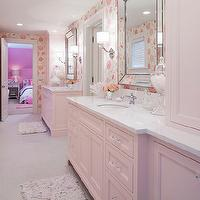 Martha O'Hara Interiors - bathrooms - Benjamin Moore - Pink Cadillac - jack and jill bathroom, pink bathroom, pink girls bathroom, pink cabinets, pink bathroom cabinets, pink vanity, pink bathroom vanity, light pink cabinets, light pink bathroom cabinets, light pink vanity, light pink bathroom vanity, light pink bathroom, light pink grils bathroom, quartz countertops, white quartz countertop, beaded mirror, beveled mirror, beaded beveled mirror, beveled beaded mirror, crystal knobs, crystal hardware, cabinet hardware, crystal cabinet pulls, crystal cabinet hardware, light pink bath mats, pink bath mats, recycled bath mats, pink recycled bath mats, light pink recycled bath mats, zeus quartz, zeus quartz countertops,