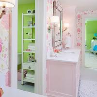 Martha O'Hara Interiors - bathrooms - Benjamin Moore - Pink Cadillac - water closet, green walls, etagere, bathroom etagere, white etagere, jack and jill bathroom, pink bathroom, pink girls bathroom, pink cabinets, pink bathroom cabinets, pink vanity, pink bathroom vanity, light pink cabinets, light pink bathroom cabinets, light pink vanity, light pink bathroom vanity, light pink bathroom, light pink grils bathroom, quartz countertops, white quartz countertop, beaded mirror, beveled mirror, beaded beveled mirror, beveled beaded mirror, crystal knobs, crystal hardware, cabinet hardware, crystal cabinet pulls, crystal cabinet hardware, light pink bath mats, pink bath mats, recycled bath mats, pink recycled bath mats, light pink recycled bath mats, flower sconces, girls sconces, girl bathroom sconces, girl sconces, zeus quartz, zeus quartz countertops,