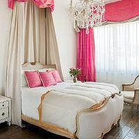Palm Design Group - bedrooms: french bed, baroque bed, french baroque bed, upholstered bed, upholstered french bed, gray bed, upholstered gray bed, gray upholstered bed, gray baroque bed, upholstered baroque bed, grey french bed, french bedroom, modern french bedroom, pink bed canopy, champagne bed canopy, silk bed canopy, hot pink pillows, crystal chandelier, gray and gold bedding, cornice box, pink cornice, pink cornice box, pink curtains, pink drapes, pink window panels, chandelier above bed, chandelier over bed,