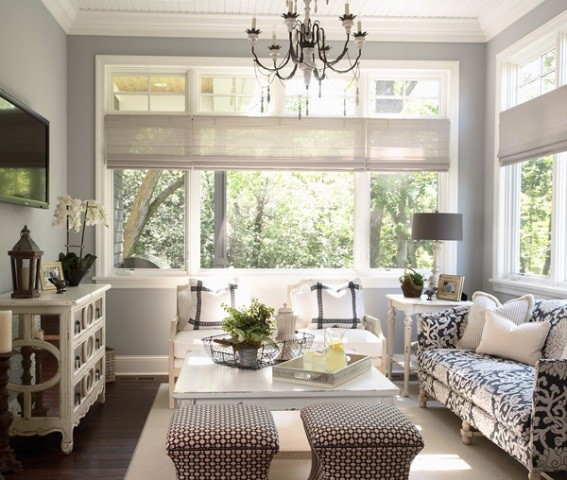Gray Blue Paint Colors Cottage Living Room Benjamin
