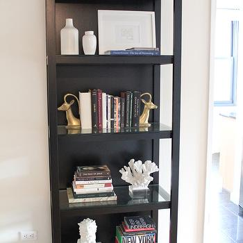 Made by Girl - living rooms - black bookcase, bookcase, bookshelf, black bookshelf, styled bookshelf, styled bookcase, bookends, ram bookends, decorative coral, coral accessories,
