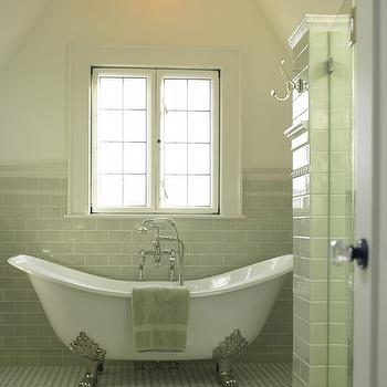Goforth Gill Architects - bathrooms - green subway tile, green subway tile backsplash, clawfoot tub, vintage clawfoot tub, tub filler, floor mount tub filler, cathedral ceiling, bathroom cathedral ceiling, basketweave tile, basketweave tile floor, basketweave bathroom floor, black and white tile, black and white tile floor, vintage chandelier, bathroom chandelier,