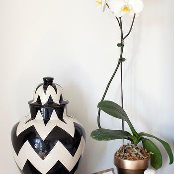 Made by Girl - living rooms - chevron jar, ginger jar, tibor, chevron tibor, black and white ginger jar, black and white tibor, black and white chevron jar, black and white chevron ginger jar, black and white chevron tibor, white buddha, buddha, buddha head, white buddha head, zigzag tibor, zigzag ginger jar, black and white zigzag tibor, black and white zigzag ginger jar, faux python, faux python box, orchid,
