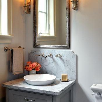 Gray Bathroom Vanity, Transitional, bathroom, Luxe Living Interiors