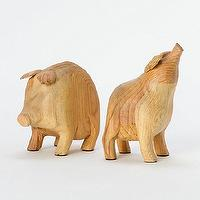 Decor/Accessories - Some Pig Bookends l Terrain - carved, pig, bookends, wooden, pine, reclaimed,