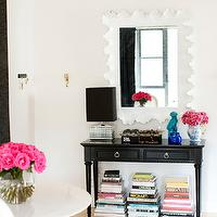 Made by Girl - entrances/foyers - scalloped mirror, white mirror, foyer mirror, white foyer mirror, black and white foyer, atoll mirror, atoll rectangular mirror, console table, black console table, glossy black table, glossy black console table, metallic lamp, foo dog, turquoise foo dog, turquoise blue foo dog, cobalt blue, cobalt blue accents, chic foyer, enter Ballard Designs Atoll Rectangular Mirror with Clear Glass, Tom Ford, CB2 Rock Dining Table,