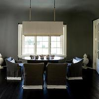 Melanie Turner Interiors - dining rooms - gray dining room, charcoal gray dining room, gray ceiling, charcoal gray ceiling, dining room, rectangular chandelier, rectangular pendant, linen rectangular pendant, linen rectangular chandelier, oval dining table, dining table, dining chairs, gray dining chairs, slipcovered chairs, slipcovered dining chairs, gray slipcovered chairs, gray slipcovered dining chairs, white and gray chairs, white and gray dining chairs, white and gray slipcovered chairs, white and gray slipcovered dining chairs, french doors, dining room french doors, ebony wood floors, ebony hardwood floors, chic dining room,