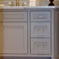 Luxe Living Interiors - bathrooms - grey vanity, grey bathroom vanity, grey cabinets, grey bathroom cabinets, grey washstand, carrara marble, carrara marble top, carrara marble countertop, carrara marble backsplash, marble hex tile, marble hex tile floor,