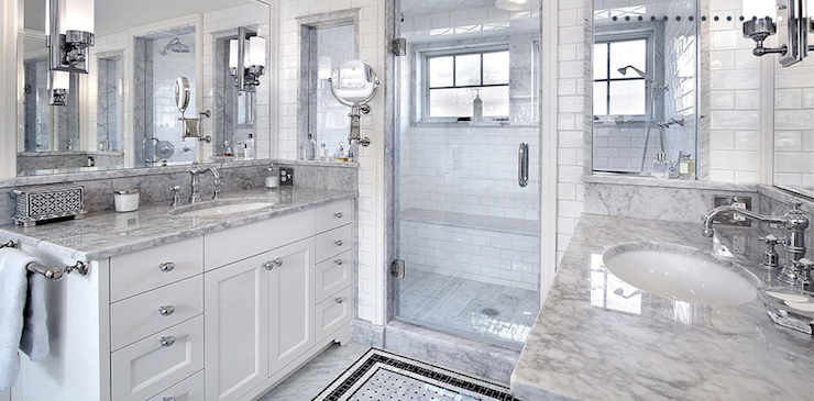 White Carrara Marble Transitional Bathroom Artsaics