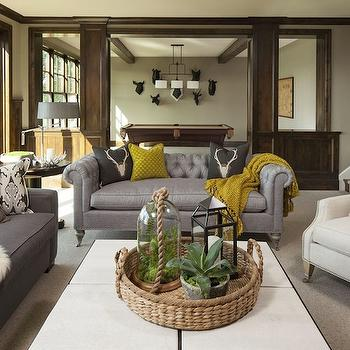 Gray Chesterfield, Transitional, living room, Martha O'Hara Interiors