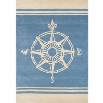 Rugs - Classic Compass Rug - Rosenberry Rooms - boys, nursery, nautical, contemporary, blue, rug, compass