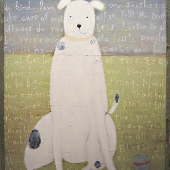 Art/Wall Decor - White Dog Vintage Framed Art Print - Rosenberry Rooms - kids, vintage, wall, art, print, dog, words, green, blue, vintage, eclectic