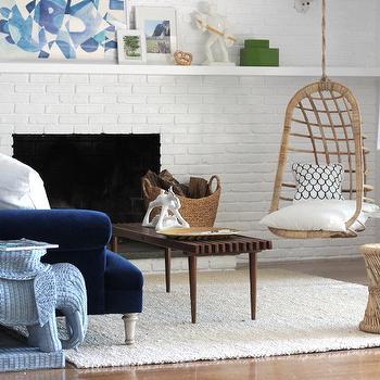 Indigo Blue Velvet Sofa, Vintage, living room, Emily Henderson