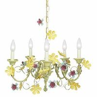 Lighting - Five Arm Multi Leaf and Flower Chandelier - Rosenberry Rooms - petals, flowers, floral, green, yellow, girls, chandelier, nursery, bedroom, kids