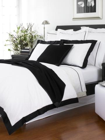 Bedding - Black Fulton Collection - RalphLauren.com - bedding, black, white, cuff, bold, framed, crisp, modern, cotton,