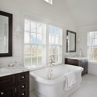 Barbara Waltman Design - bathrooms - vaulted ceiling, bathroom vaulted ceilings, bathroom lanterns, glass lanterns, soaking tubs, tub fillers, chocolate stained bathroom vanities, marble countertops, bathroom marble countertops, beveled bathroom mirrors, brown beveled bathrooms, carrara marble hex tiles, carrara marble hex floors, carrara marble bathroom floors, chocolate cabinets, chocolate bathroom cabinets, chocolate brown cabinets, chocolate brown cabinets, chocolate brown vanity, chocolate brown bathroom vanity,