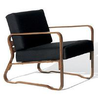 Seating - Collection Lounge Chair - Ralph Lauren Home - mid-century, chair, black, canvas, lounge, saddle, leather, wrapped
