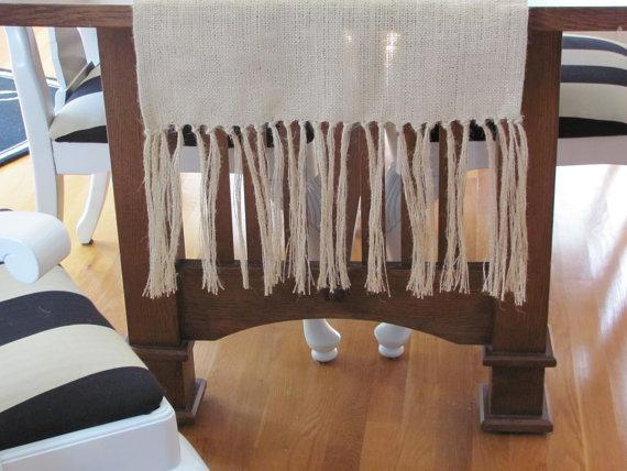 Burlap Table Runner With Fringe by cottageandvine - Etsy