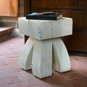 Tables - Gonzales Stool Table - Pfeifer Studio - whitewashed, stool, graphic, western, wood, pine, art, sculpture, accent