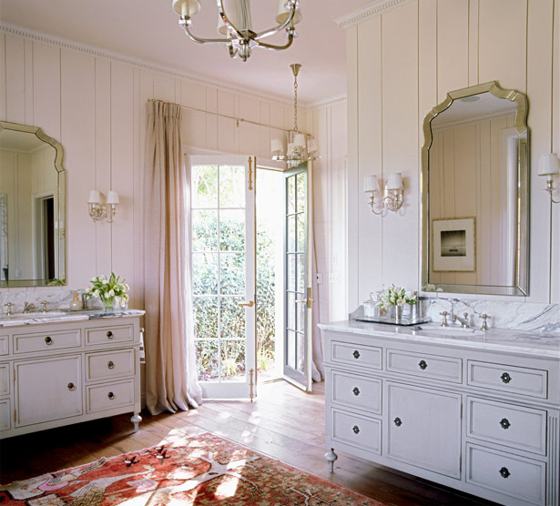 SallyL: Kristen Buckingham Interior Design - Pretty pink bathroom! Painted, antique vanities ...