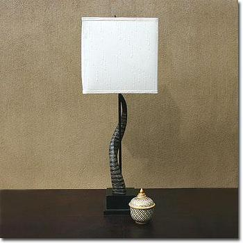 Lighting - Horn Table Lamp - Pfeifer Studio - horn, table, lamp, black, resin, dupion, silk, shade, contemporary