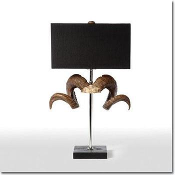 Lighting - Ram Horn Table Lamp - Pfeifer Studio - resin, black, gold, metallic, ram, horn, table, lamp, shade, linen, contemporary, American,